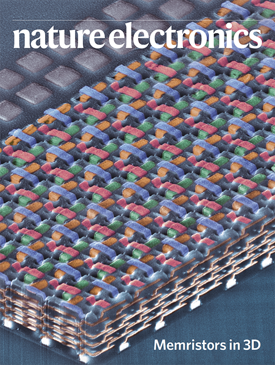"""""""Memristors in 3D"""" on cover of Nature Electronics"""